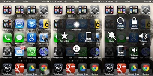 Virtual home button op de iPhone
