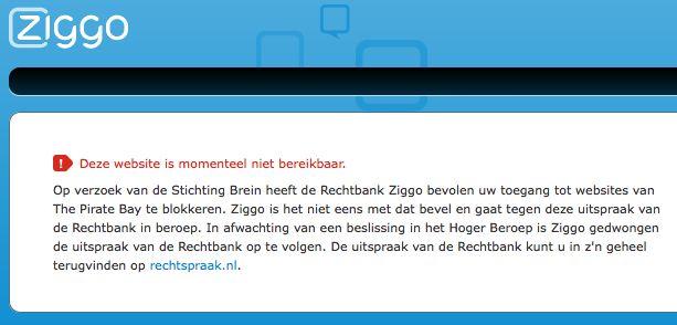 Ziggo start met blokkeren van The Pirate Bay