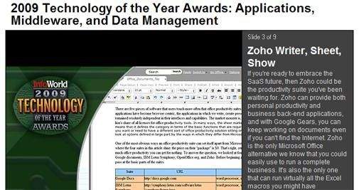 Zoho wint InfoWorld's 2009 Technology of the Year Award