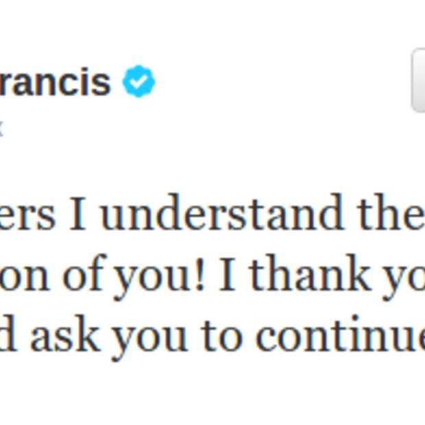 Aantal volgers Paus Fransiscus op Twitter voorbij 10 miljoen