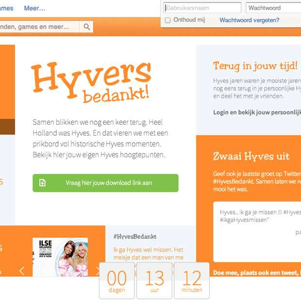 Alleen vandaag kan je nog jouw Hyves content downloaden