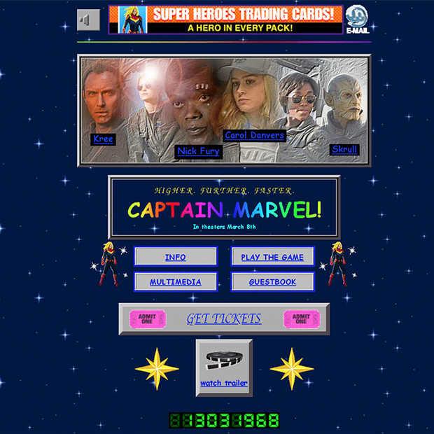 Geheel in stijl: een jaren '90 website voor Captain Marvel