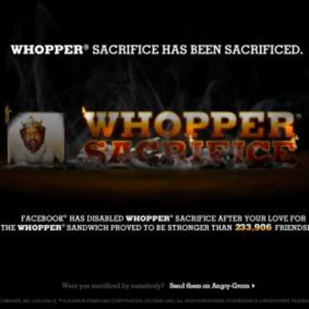 Facebook haalt de stekker uit Whopper Sacrifice