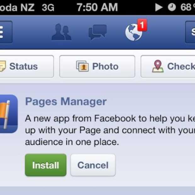 Facebook rolt iPhone applicatie uit voor paginabeheerders: Pages Manager