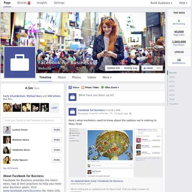 Facebook update layout van Pagina's op desktop