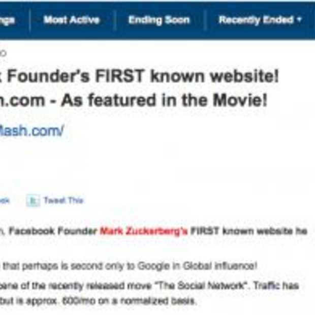 FaceMash.com verkocht voor $30.201