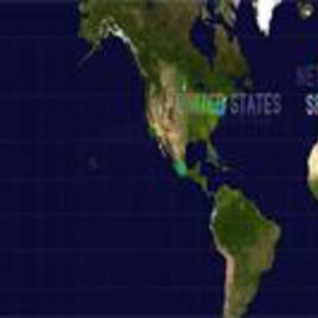 Geo-located tweets op een wereldkaart