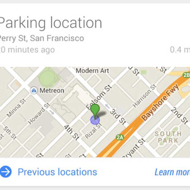 Google Now voor Android weet waar je hebt geparkeerd