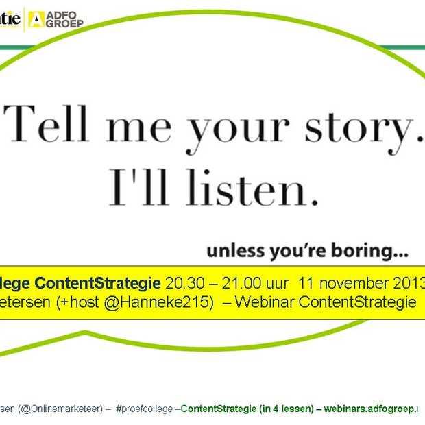 GRATIS #webinar ContentStrategie op maandag 11 november 2013 20.30 uur! Nog enkele plekken!