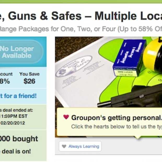 Groupon stopt met wapen-gerelateerde aanbiedingen
