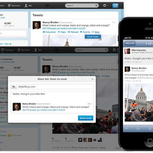 Het delen van Tweets kan nu ook via e-mail