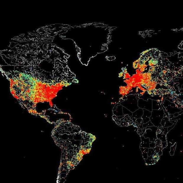 Map toont ieder device verbonden met internet wereldwijd