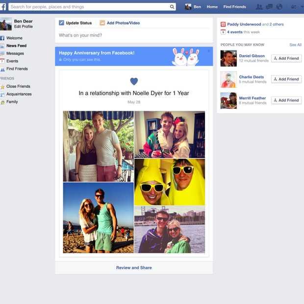 Je krijgt nu een felicitatie van Facebook op trouwdag of dag waarop een relatie is begonnen