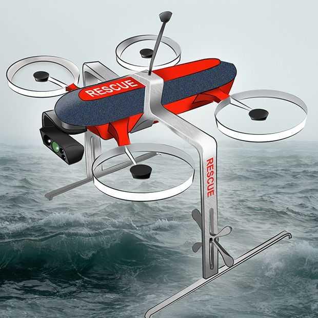 De LifeDrone komt je een reddingsboei brengen op zee