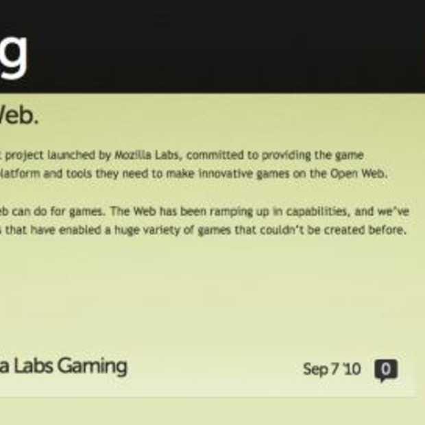 Mozilla Labs gaat zich op Browser Gaming richten