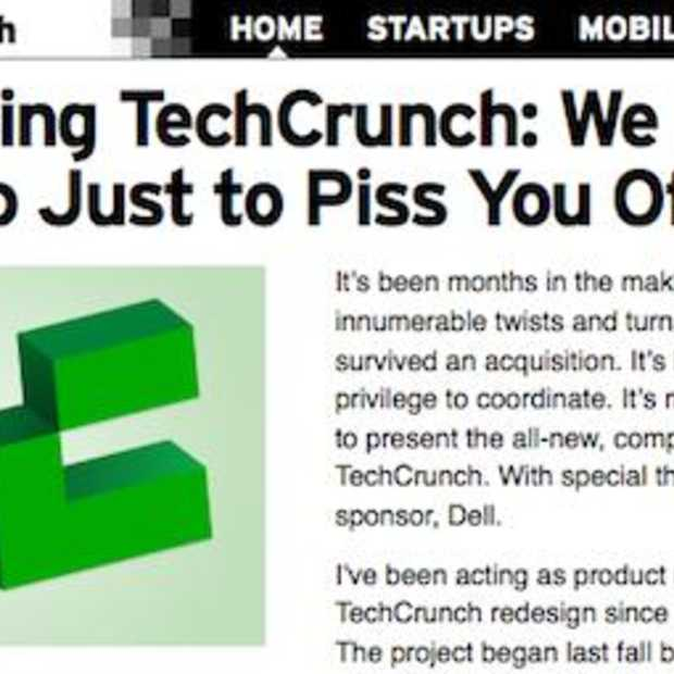 Nieuw design TechCrunch: We Picked This Logo Just to Piss You Off