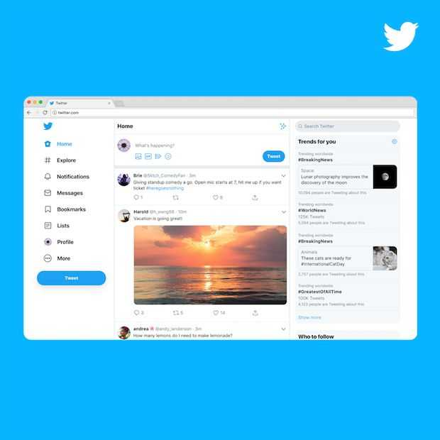 Twitters desktop website ondergaat re-design