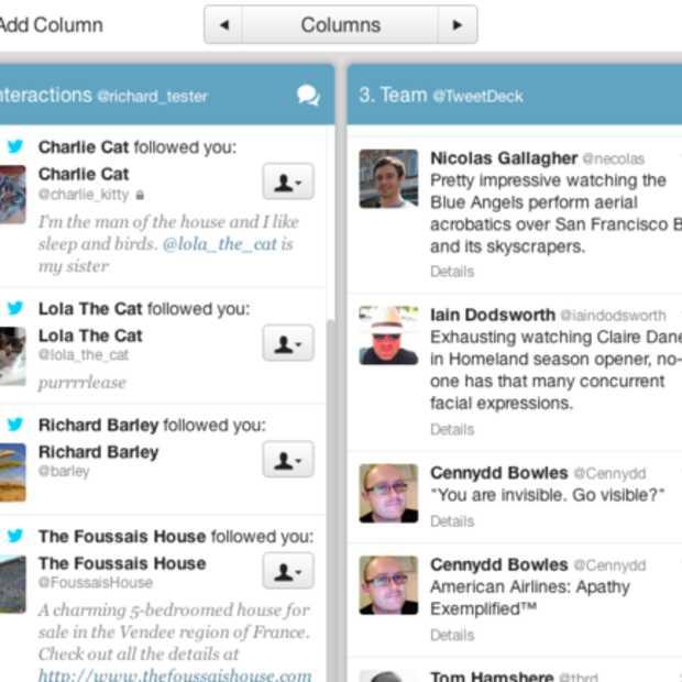 Nieuwe layout voor Tweetdeck