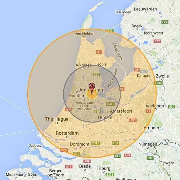 Nukemap toont de impact van een nucleaire detonatie