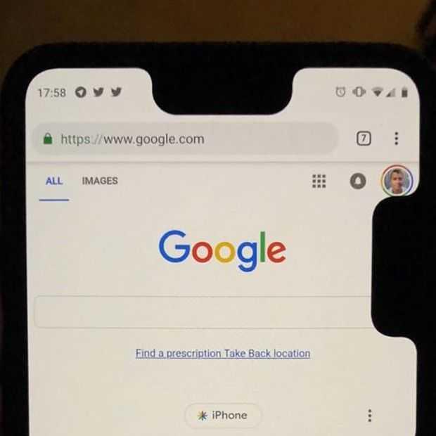 Google bug geeft Pixel 3 XL extra notch - aan de zijkant