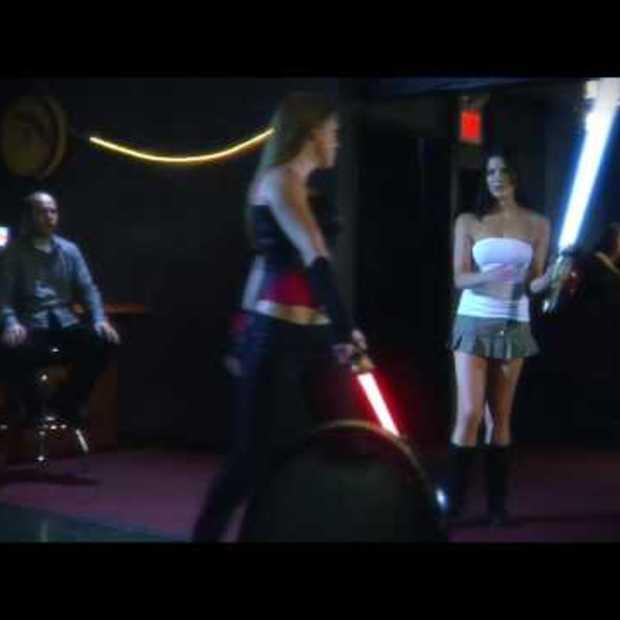 Sexy lightsaber underwear fight (viral)