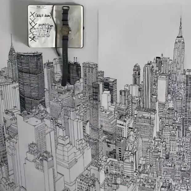 Illustrator tekent skyline New York City in bijzondere time-lapse