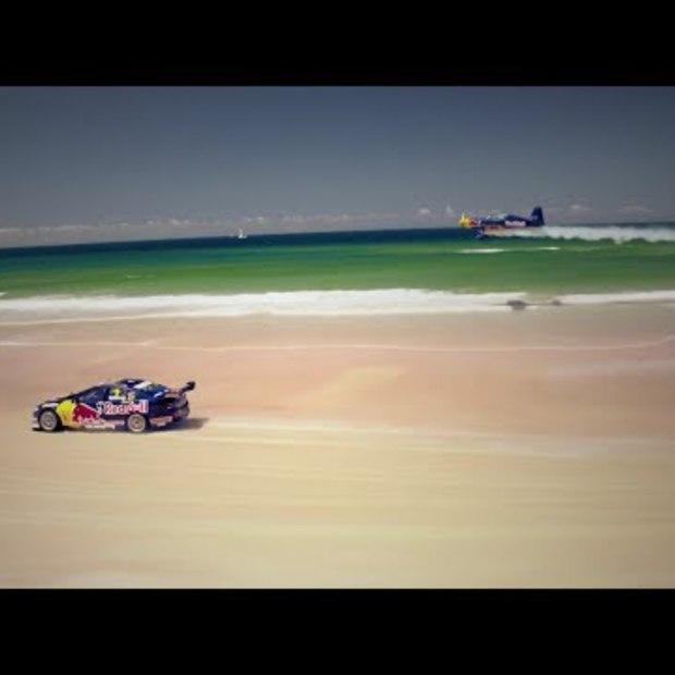 V8 Supercar vs. Airplane race on an Australian beach