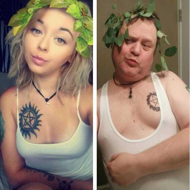 Vader kopieert selfies dochter op hilarische wijze