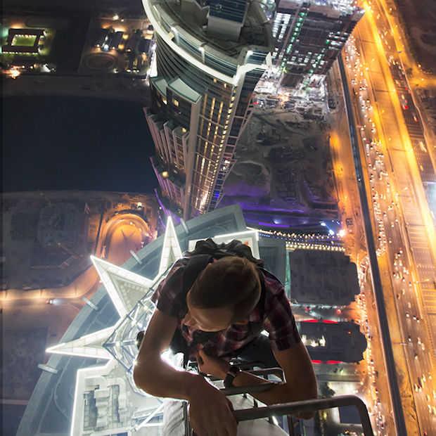 Fotograferen vanaf het dak van het hoogste hotel ter wereld