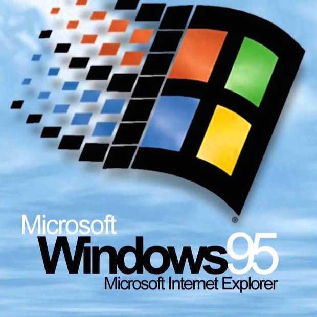 Tieners gebruiken Windows 95 voor het eerst